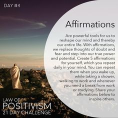 """1,146 Me gusta, 66 comentarios - Law Of Positivism (@law_of_positivism) en Instagram: """"Day 4 - I had a time in my life where my mind was cluttered with negative thoughts and…"""""""