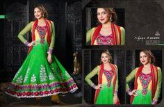 Green Floor Length Anarkali Dress Material - Salwar Suits