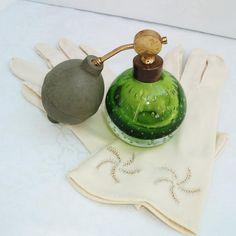 Art Glass Perfume Bottle, Decorative Perfume Bottle, Green Glass