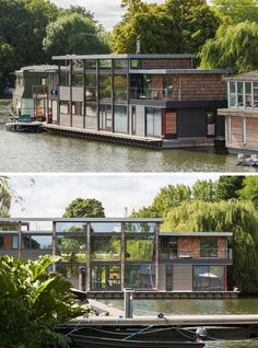 maison sur l'eau avec parement en brique rouge et grandes fenêtres panoramiques