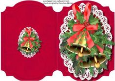 A lovely quick and easy card to make and give to anyone at Christmas Print , Cut, and Fold, Let the Bells Ring Out , a lovely card print Twice to decoupage,