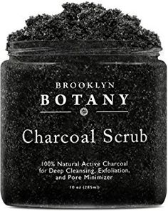 Charcoal Scrub 10 oz. - Activated Charcoal for Deep Cleansing & Exfoliation - Pore Minimizer & Reduces Wrinkles, Acne Scars, Blackheads & Anti Cellulite - Great as Body Scrub & Facial Cleanser