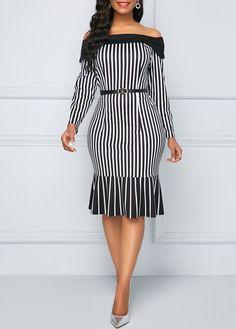 Black Dresses Frill Hem Off the Shoulder Striped Sheath Dress Elegant Dresses, Sexy Dresses, Fashion Dresses, African Attire, African Dress, Sheath Dress, Dress Skirt, Cheap Black Dress, Black Dresses Online