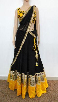 varuna jitesh party wear black half sarees