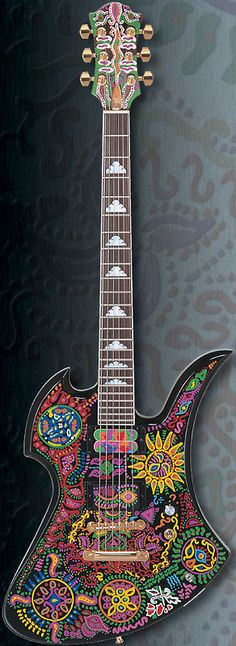 Fernandes Hide Model Burny MG-145X Signature electric guitar decorated in mexican traditional and aztec folk art designs