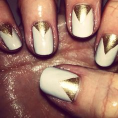 Gold and nude nails... My own!