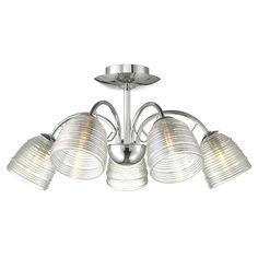Ridley 5 Light Semi Flush Ceiling Light - Chrome at Homebase.co.uk