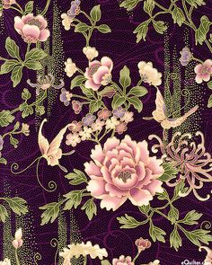 Narumi - Flowers in the Mist - Espresso Brown/Silver Japanese Flowers, Japanese Fabric, Japanese Prints, Japanese Design, Japanese Art, Motif Kimono, Kimono Pattern, Flower Wallpaper, Pattern Wallpaper