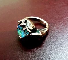 1 Piece Natural Raw Opal Ring Electro Formed by LeejewelCreations