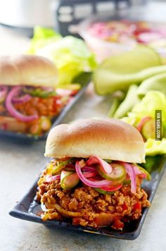 Slow Cooker Korean Sloppy Joes. The quick pickles are a must.