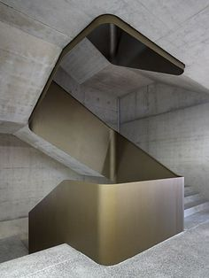 Concrete and brass staircase with a Brutalist feel.c… f… Concrete and brass staircase with a Brutalist feel. Interior Staircase, Modern Staircase, Staircase Design, Concrete Staircase, Stair Design, Staircase Ideas, Architecture Design, Stairs Architecture, Contemporary Architecture