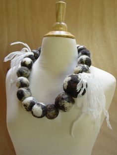 Felt huge bead jacob sheep wool necklace with by modernfiberlab