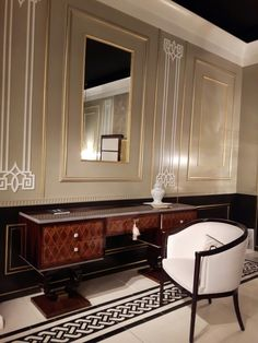 Toilette art deco in bois violette and rosewood with Swarovski knobs.