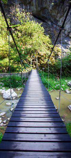 Suspended bridge in Turda Gorges National Park, Transylvania - Romania