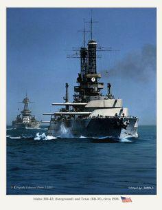USS Idaho (BB-42) foreground and USS Texas (BB-35) circa 1930.