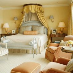 Peach, mango, yellow, and blue create a medley of delicious colors in the bedroom