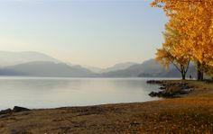 early morning looking south over Skaha Lake from Penticton BC, Canada