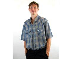 Men's western shirt, DC Brand shirt, plaid shirt, blue gray, Big Man shirt, Size XL, pearl snaps