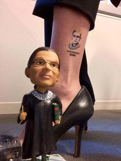 Julie from @consource is killing it in the game with her #NotoriousRBG @tattly temp tat / bobblehead combo <3_<3Um also can we talk about how the book comes out in a week !?!!!