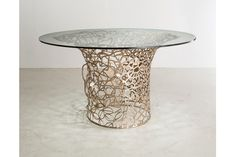 """Unique Collage Column table in bronze with porcelain Cherry blossoms and glass top. Designed and made by David Wiseman, USA, 2014. 30"""" H x 54"""" D / 76.2cm H x 137.2cm D (DT401)."""