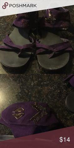 Purple suede beaded flat sandal Purple suede beaded sandal sz 10 Shoes Sandals