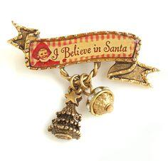 John Wind Pin Christmas I Believe In Santa Gold Holiday Jewelry Maximal Art New #MaximalArt
