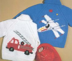 Airplane And Firetruck Crochet Jacket Fo - Diy Crafts - hadido Knitting Patterns Boys, Baby Boy Knitting, Crochet Patterns For Beginners, Knitting For Kids, Baby Patterns, Crochet For Boys, Crochet Baby, Slip Knot Crochet, Dinosaur Sweater