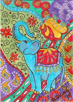 ACEO Original Zentangle Colorful LUCKY ELEPHANT TOO