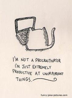 Funny procrastination cat cartoon joke image