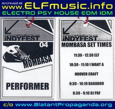Indyfest Indie Music Arts Festival Electronic Dance Music Canberra ACT Australia Live Electronica Psy Psytrance House Producers Sound Artists Groups Musicians Bands Events ELF the E.L.F. Club Mombasa Monkey Bar Gigs Photos 2000s 00s DJs DJ Canberran Night Clubs Australian