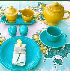 Vintage turquoise fiesta and vintage antique gold fiesta