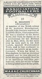 1938 W.A.& A.C Churchman #10 D. Dearson Back