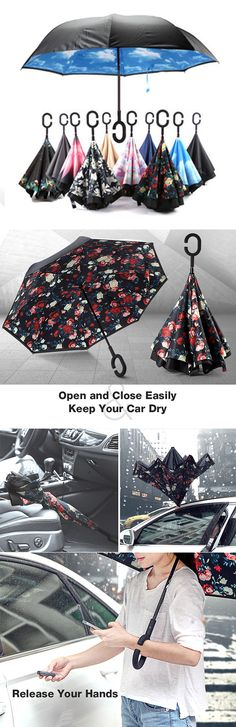 Are you still annoyed the umbrella wet the floor or the car? Get this reverse umbrella, keep your floor and car dry. #Creative umbrella.