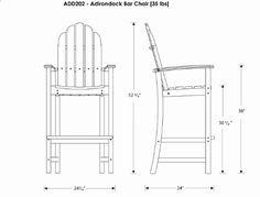 bar height adirondack chair plans - Google Search