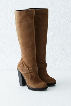 Boots | Brown SUEDE KNEE HIGH BOOTS | Warehouse