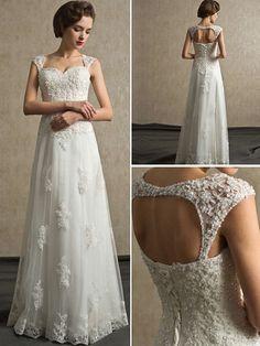 Sheath+/+Column+Sweetheart+Floor-length+Lace+and+Satin+Wedding+Dress+-+USD+$349.99