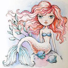 Pretty Red Haired Mermaid Original Painting by ArtsyDeniseToo