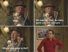 Grandad (played by Lennard Pearce and Del Trotter (portrayed by Sir David Jason) in 'Only Fools & Horses' British Sitcoms, British Comedy, Classic Comedies, Classic Movies, He Who Dares Wins, Tv Quotes, Funny Quotes, Father Ted, Only Fools And Horses