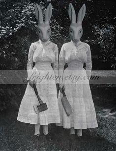 Creepy Rabbit Halloween Art, Twins, Altered Vintage Photography Print, Halloween Decor, Black and White