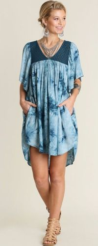 Umgee-Tie-Dye-Pocket-Shift-Dress-Teal-Blue-Baby-Doll-Pleated-Bohemian-Chic-C3251 #Unique_Boho_Style