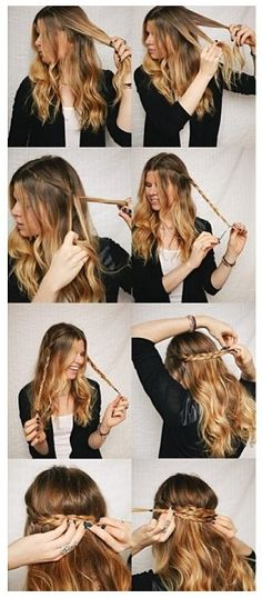 DIY Half Up Braided Crown Hairstyles I'd like to try this color on my hair, though it would probably look way cooler with naturally wavy hair. Still I can make my hair wavy. Braided Crown Hairstyles, My Hairstyle, Pretty Hairstyles, Easy Hairstyles, Braided Updo, Hairstyle Ideas, Perfect Hairstyle, Braided Pigtails, Medieval Hairstyles