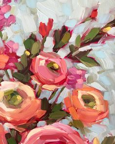 Acrylic Painting Flowers, Abstract Flowers, Acrylic Art, Floral Paintings, Abstract Paintings, Oil Paintings, Arte Floral, Oeuvre D'art, Painting & Drawing