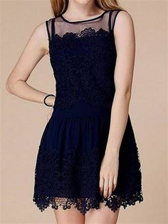 Nice navy blue lace dress sleeveless 2017-2018 Check more at http://bestclotheshop.com/dresses-review/navy-blue-lace-dress-sleeveless-2017-2018/