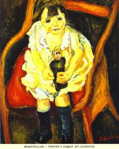 "Chaïm Soutine (Russian, 1893 - 1943)  ~ ""Little Girl with Doll/La petite fille à la poupée"", 1919"
