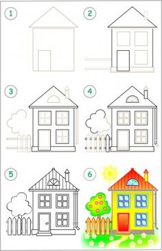 Page shows how to learn step by step to draw a house. Easy Disney Drawings, Easy Drawings For Kids, Colorful Drawings, Art Drawings, Easy Halloween Drawings, Learn To Paint, Learn To Draw, Learn Drawing, Painting For Kids