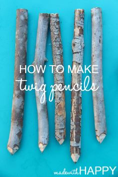 DIY Twig Pencil Tutorial from Made With Happy. I've seen these twig pencils all over -. Twig Crafts, Nature Crafts, Craft Stick Crafts, Fun Crafts, Craft Ideas, Bamboo Crafts, Driftwood Crafts, Rustic Crafts, Garden Crafts