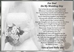 TO DAD ON MY WEDDING DAY A4 PERSONALISED POEM GIFT DAUGHTER, OR MUM  DAD