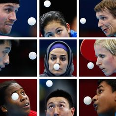 A combination picture shows table tennis players watching the ball during the London 2012 Olympic Games.