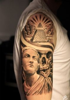 What does pyramid tattoo mean? We have pyramid tattoo ideas, designs, symbolism and we explain the meaning behind the tattoo. Chest Tattoo, Arm Tattoo, Sleeve Tattoos, Badass Tattoos, Cool Tattoos, Wing Tattoos, Trendy Tattoos, Tattoos For Guys, Lil B Tattoo