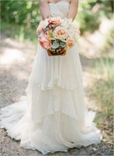 Mint + Peach Wedding Inspiration flowers. how cool would it be to have real mint in your bouquet?